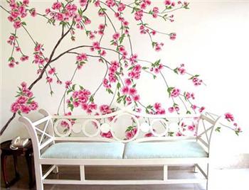 看到这个手绘墙面你是否有种真的花瓣和枝叶的错觉?
